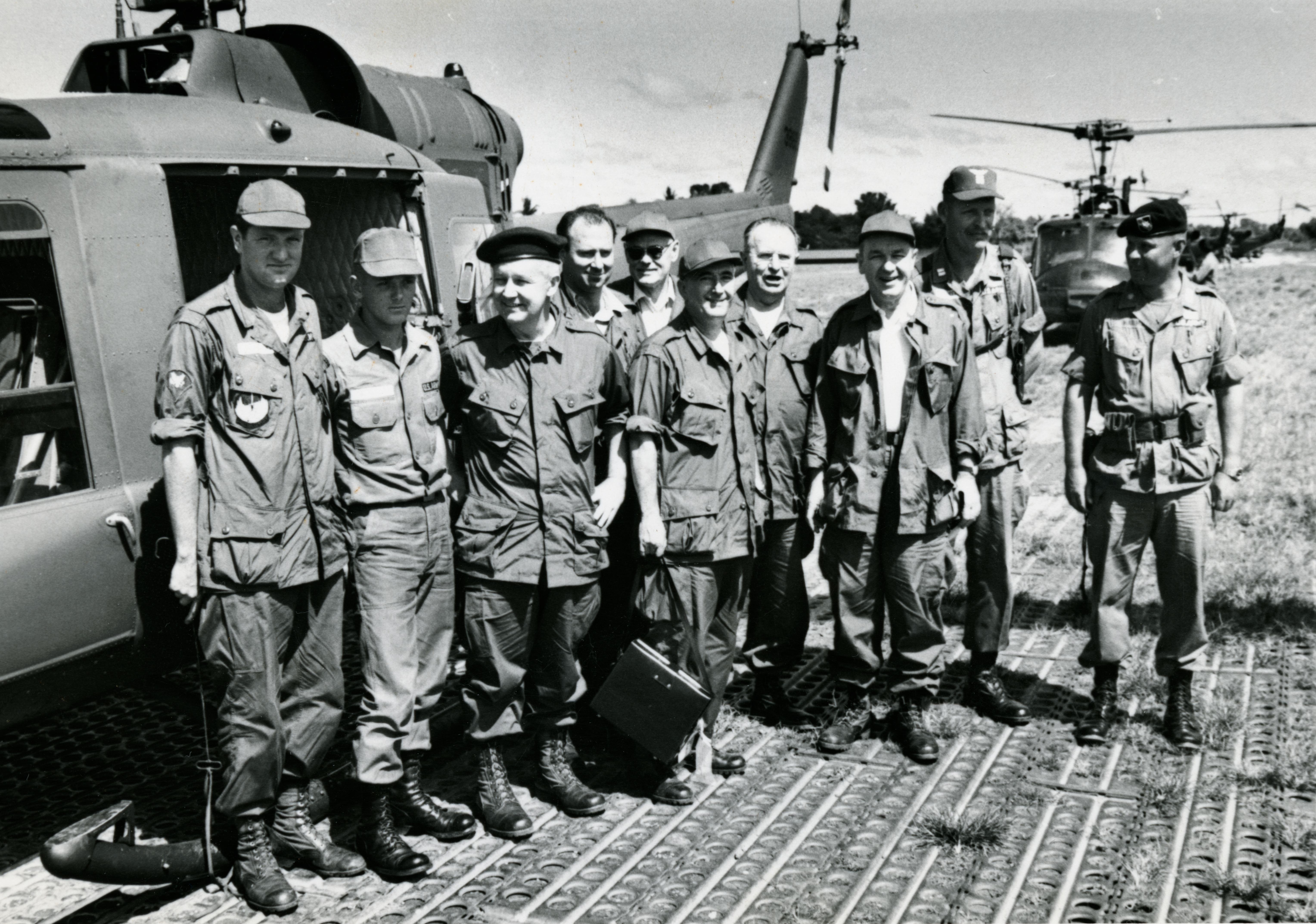 Congressman Arch Moore visited Vietnam several times during the war. He is pictured here with other members of the delegation in front of a helicopter in November 1965.