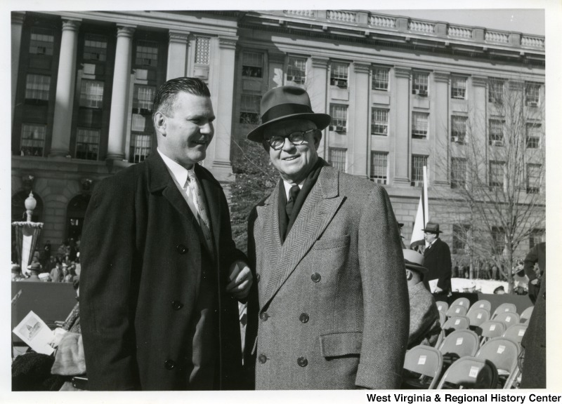 A photograph of two unidentified men at Governor Cecil H. Underwood's inauguration.