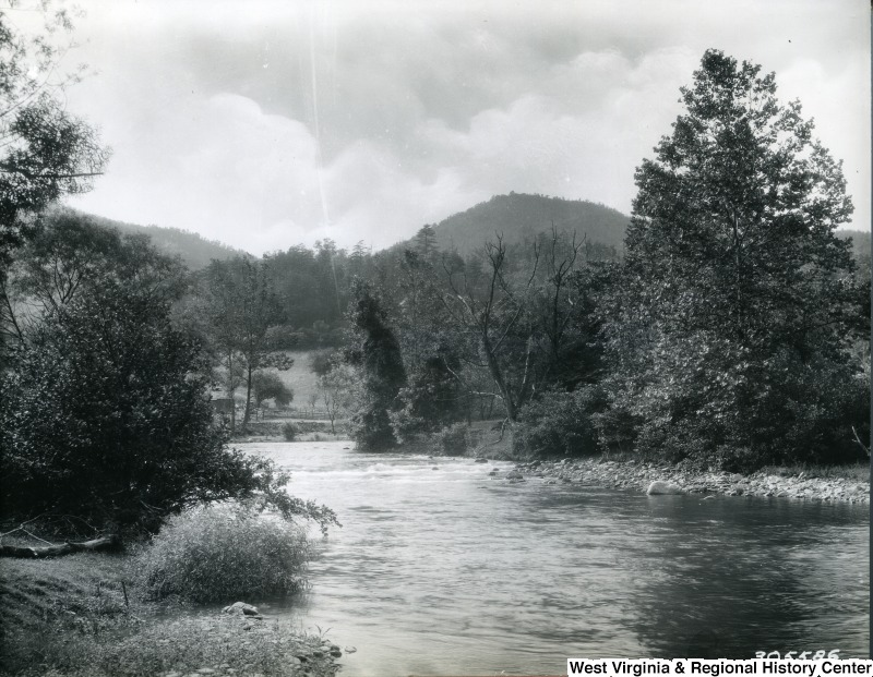 A landscape photograph of Back Creek, which is a tributary of the Potomac River that flows north from Frederick County, Virginia, to Berkeley County in West Virginia's Eastern Panhandle
