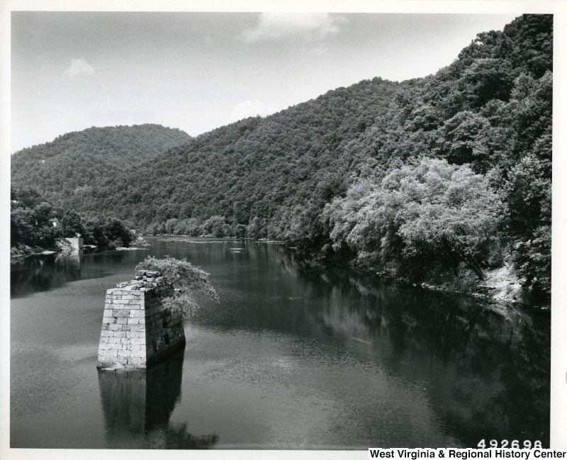 A photograph of the Gauley River looking upstream from the railroad bridge at Gauley Bridge.