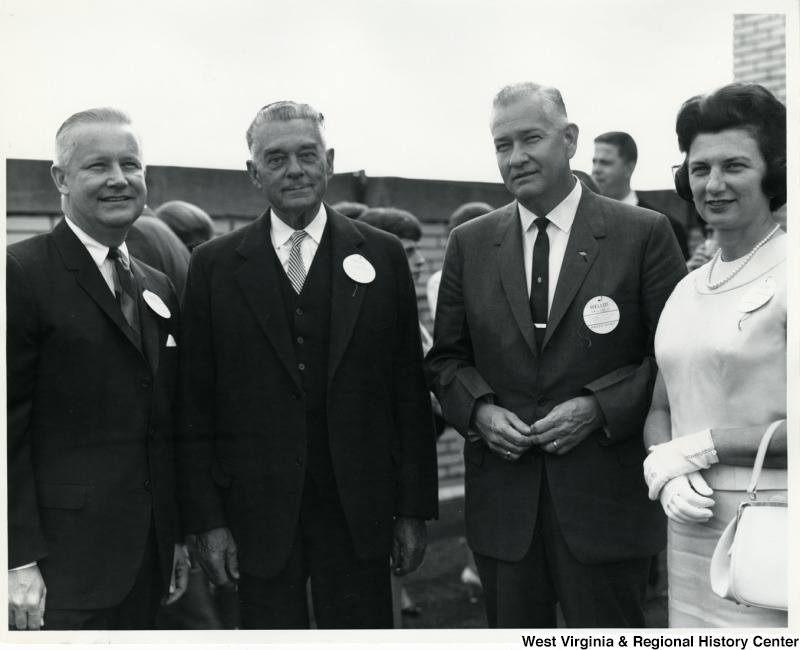 From left to right: Congressman Arch A. Moore, Jr., unidentified male, Edgar Tetrich, president; and Mrs. Shelley Moore.