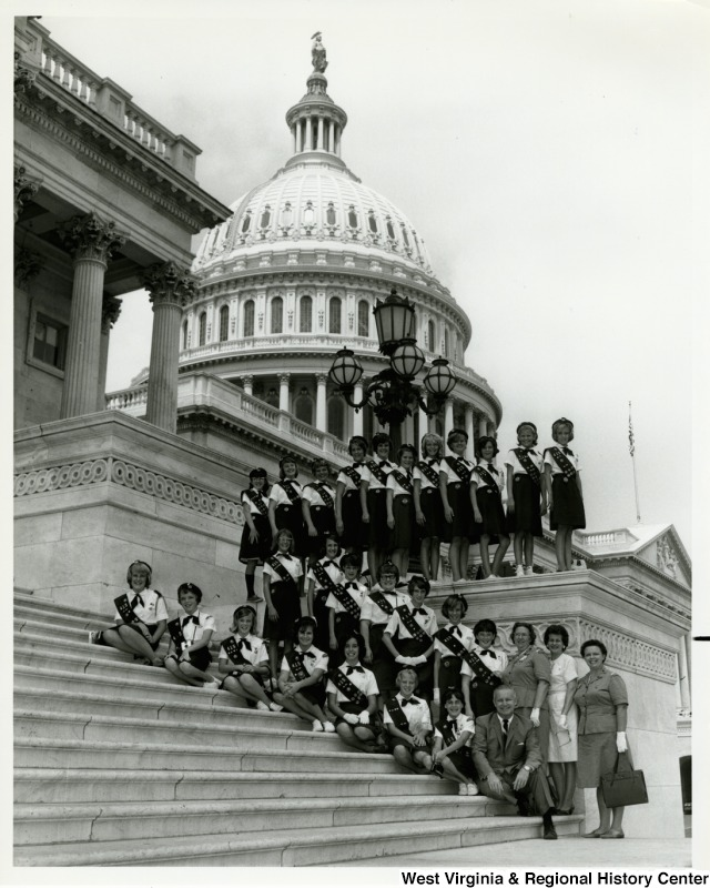 Congressman Arch A. Moore, Jr. with Girl Scout Troop 415 on the steps of the Capitol.