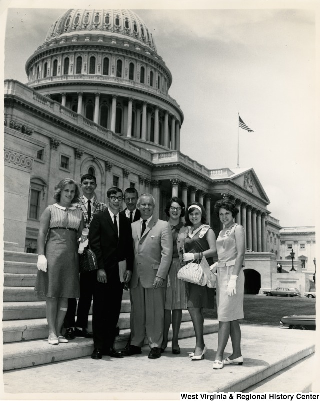 Congressman Arch A. Moore, Jr. standing in front of the Capitol building with members of the Taylor County 4-H Club. Members: Russell Weaver, Larry Sapp, Teresa Skinner, Robert Devers, Karen Jones, Barbara Stout, and Mary Kay Cather.
