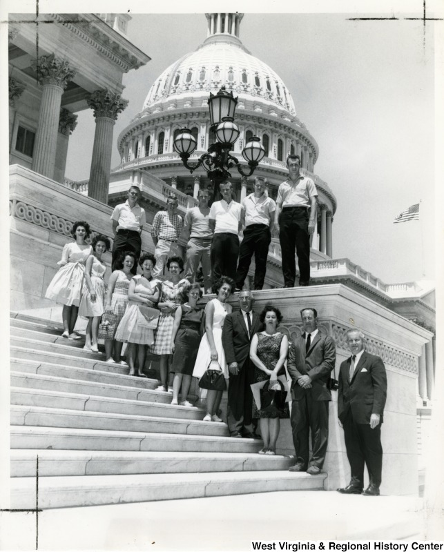 Congressman Arch A. Moore, Jr. standing on the steps of the Capitol with the Lumberport High School senior class.