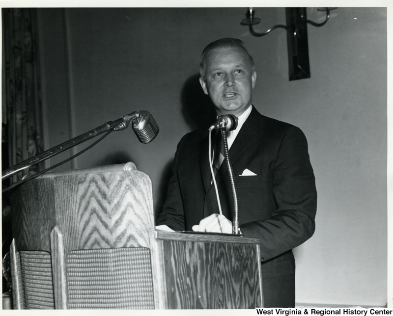 Congressman Arch A. Moore, Jr. speaking at a podium.