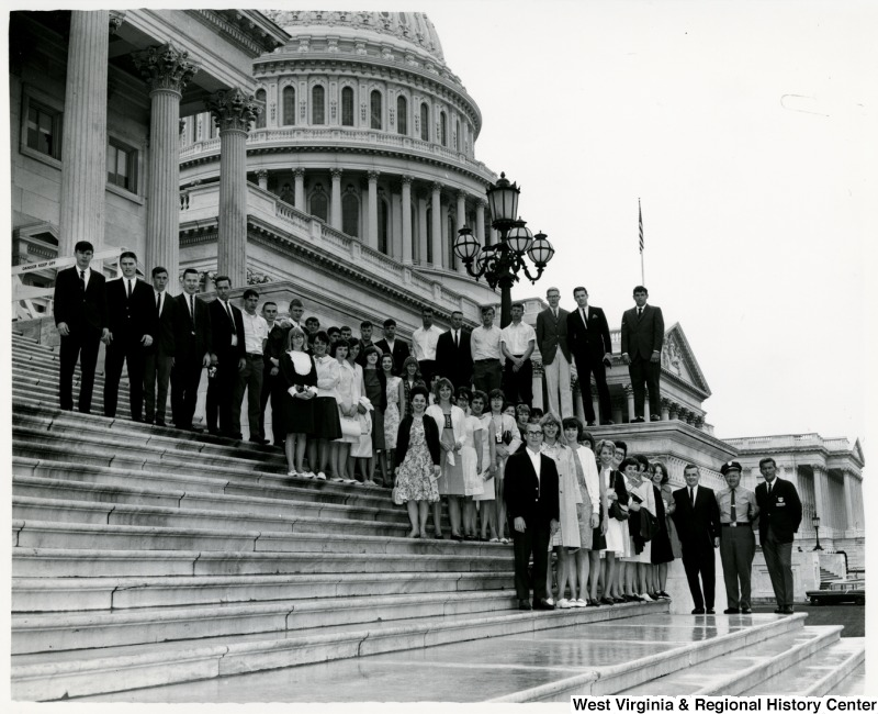 A group of students from Jane Lew standing on the steps of the Capitol building.