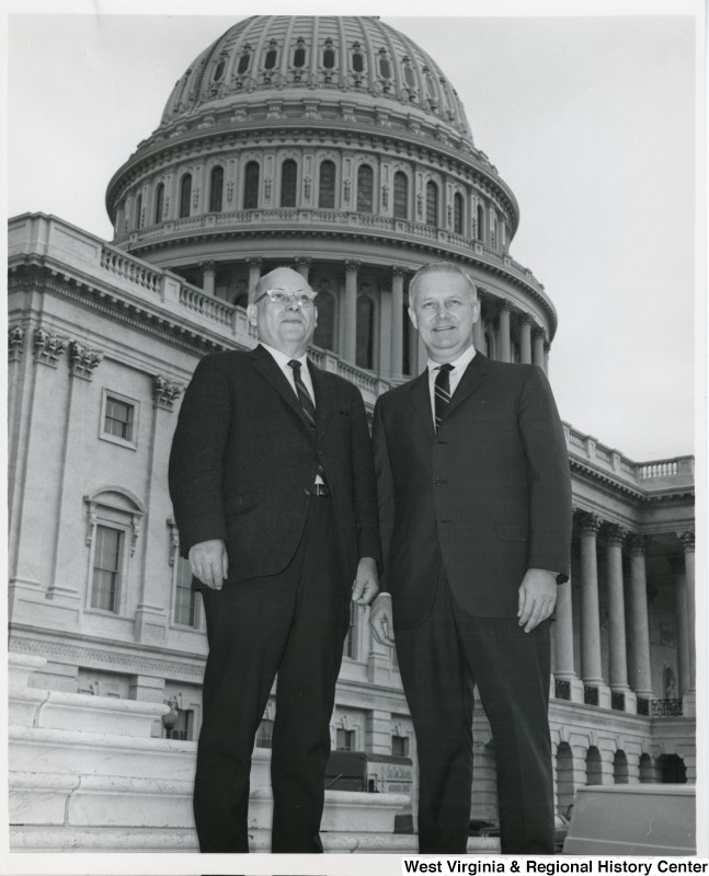 Congressman Arch A. Moore, Jr. standing on the steps of the Capitol with Charlie Maxwell.