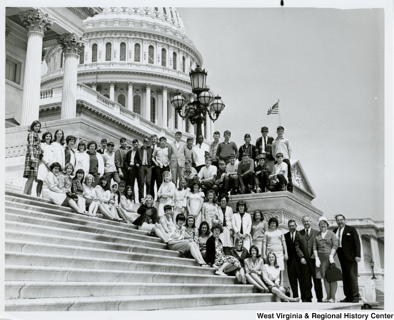 Congressman Arch A. Moore, Jr. with thirty-two seniors from Barrackville High School. The students are being escorted around Washington, D.C. by Barrackville High Principal Larney Gump, who is first on the right.