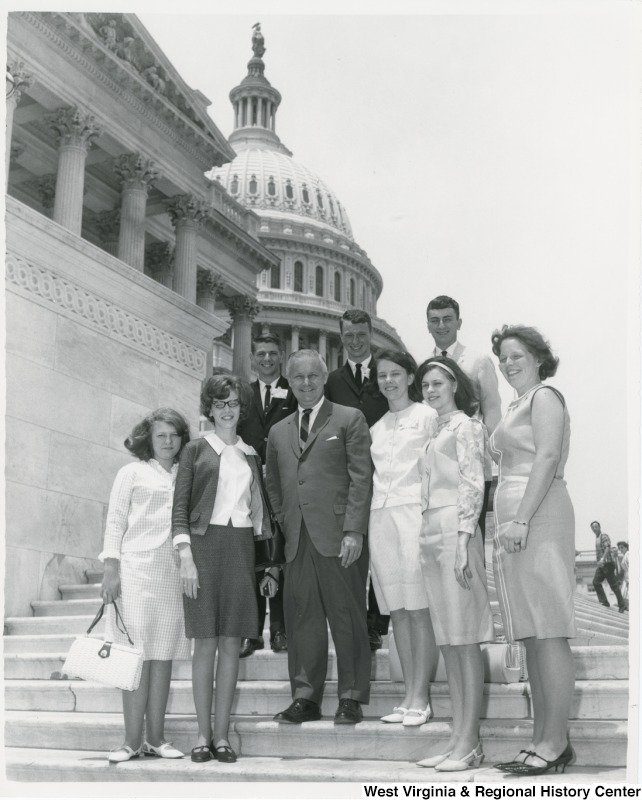 Congressman Arch A. Moore, Jr. with Glenville and Grafton students who were at the Regional 4-H Conference in Washington.  From Gilmer County is Shirley Jean Hardman (second left) and Harry Drake (third left) of Glenville.