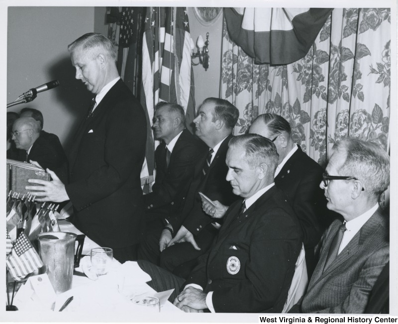Congressman Arch A. Moore, Jr. speaking at the American Legion Banquet and dance at the Pleasant Valley Country Club in Weirton, W.Va.