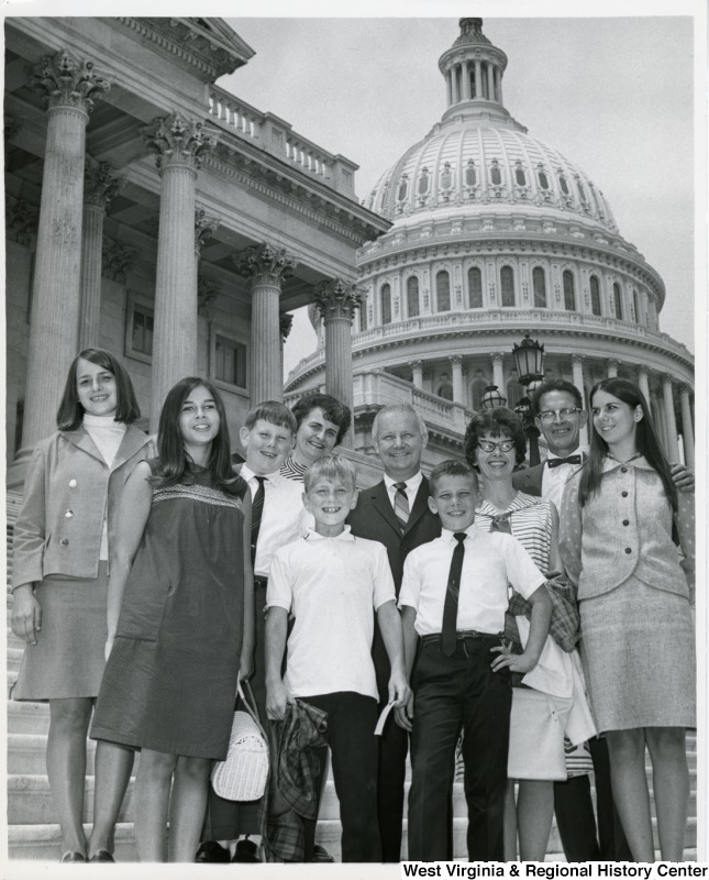 Congressman Arch A. Moore, Jr. standing on the steps of the Capitol with the Lauffert and Mirandy families, who are from Wheeling, W.Va.