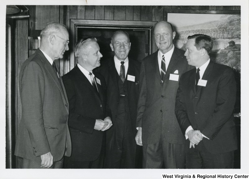 Congressman Arch A. Moore, Jr. with four unidentified men from the Bethany College.
