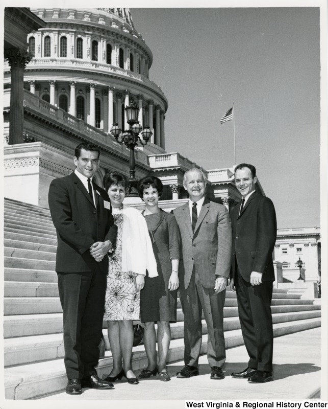 Congressman Arch A. Moore, Jr. standing on the steps of the Capitol with Mr. and Mrs. Alfred Clark and Mr. and Mrs. Charles Hill.