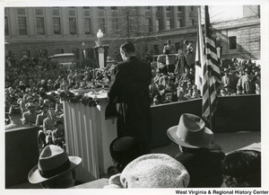 Governor Cecil H. Underwood speaking to a crowd at his inauguration.