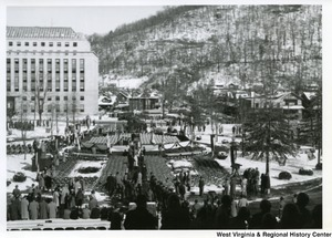 A photograph showing the seating for the inauguration of Governor Cecil H. Underwood.