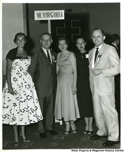 Congressman Arch Moore, Jr.  (second from left) attending the Tenth Young Republican National Convention  in Washington, D.C. One of the highlights of the convention was the election of Congressman Moore to the Young Republican Hall of Fame. Mountain State Delegates shown with Congressman Moore are Barbara Caldwell, Jean A. Saul, Catherine Raptis, and Charles A. McWhorter, Jr., National Young Republican President.
