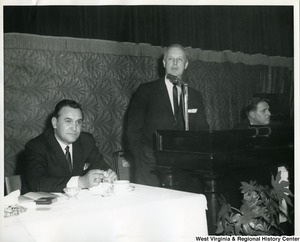 Congressman Arch A. Moore, Jr. speaking at the Silver Anniversary Banquet of Iron Workers Local Union No. 549 at the Elks Lodge, Wheeling, W.Va.