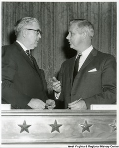 "Congressman Arch A. Moore, Jr. talking with Congressman Thomas ""Tom"" Steed of Oklahoma."