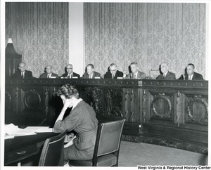 Congressman Arch A. Moore, Jr. (second from the right) at a hearing before the Sub-committee of the Select Committee on Small Business. On Moore's left is Congressman Tom Steed of Oklahoma, Chairman of the Sub-committee, J. Allan Sherier and Justinius Gould, Counsels of the committee.