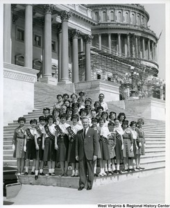 Congressman Arch A. Moore, Jr. (front, center) with Girl Scout Troops 91 and 18 of St. Vincent's De Paul School in Elm Grove on the steps of the U.S. Capitol.