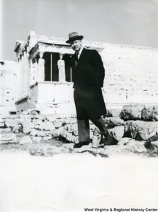 Congressman Arch A. Moore, Jr. standing in front of the Erechtheion in Athens, Greece.