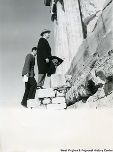 Congressman Arch A. Moore, Jr. walking up the Parthenon steps with an unidentified man.