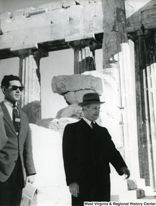 Congressman Arch A. Moore, Jr. with an unidentified man in the Parthenon