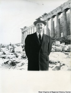 Congressman Arch A. Moore, Jr. standing in front of the Parthenon.