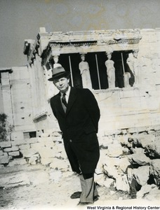Congressman Arch A. Moore, Jr.  standing in front of the statues on the Erechtheion.