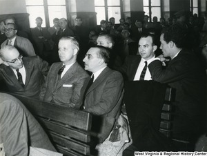Congressman Arch Moore Jr. in Greece for the trial of U.S. Airman Marion Musilli of Benwood, West Virginia.