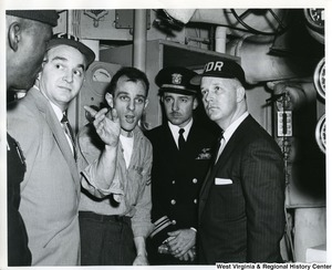 Congressman Arch A. Moore, Jr. inspecting engineering space during his visit to the U.S.S. Franklin D. Roosevelt.