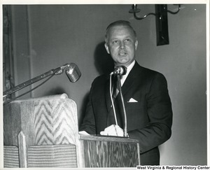 Congressman Arch A. Moore, Jr. talking from a podium.
