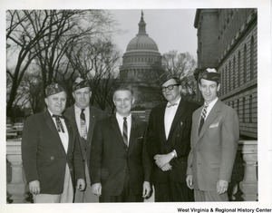 Congressman Arch A. Moore, Jr. (center) with four Veterans of Foreign Wars. The Capitol Building can be seen in the background.