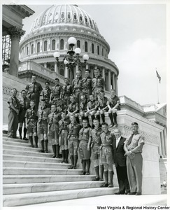 Congressman Arch A. Moore, Jr with twenty-one young men of the Baptist Church Boy Scout Troop #10 with their scoutmaster, Mr. Junior H. Landes, and leaders.