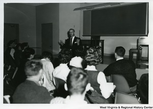 "Congressman Arch A. Moore, Jr. lecturing for a class at Bethany College for ""Visiting Professor for a Day."" He lectured for two classes, ""American National Government"" and ""American Political Parties."""