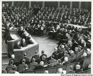 President John F. Kennedy addressing the 87th Congress . Congressman Arch A. Moore, Jr. is circled in the photograph.