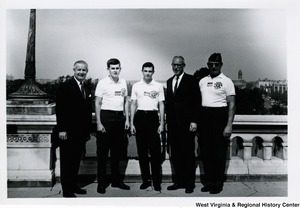 Congressman Arch A. Moore, Jr. with three members of the American Legion Boys Nation and an unidentified man.