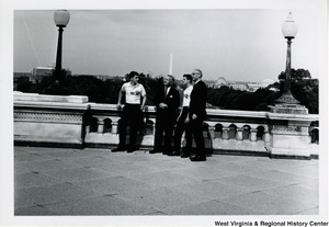 Congressman Arch A. Moore, Jr. with an unidentified man and two members of the American Legion Boys Nation.