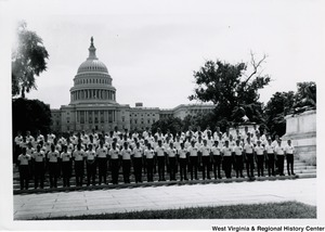 A large group of American Legion Boys Nation members on the steps of the Capitol.