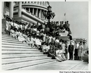 Congressman Arch A. Moore, Jr on the steps of the Capitol with the Moundsville High School Band.