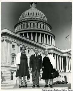 Congressman Arch A. Moore, Jr. (center) with Mrs. Harry Mick and Mrs. May Layfield in front of the Capitol.