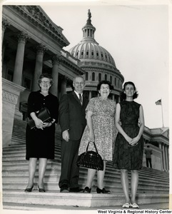 Congressman Arch A. Moore, Jr. on the steps of the Capitol with DAR delegates from Moundsville. From left to right: Mrs. H. D. Littell, Congressman Arch A. Moore, Mrs. Lem Harvey and Barbara Littell, daughter of Mrs. Littell.