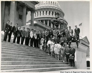 Congressman Arch A. Moore, Jr. on the steps of the Capitol with Bethany College political science students. Heading the group is Dr. Jerry Patterson (next to Moore).