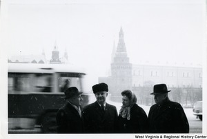 Congressman Arch A. Moore, Jr. and his wife, Shelley,  talking to two unidentified men in Moscow, near the Red Square.