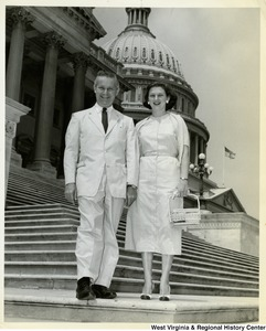Congressman Arch A. Moore, Jr. and his wife, Shelley, on the steps of the Capitol.