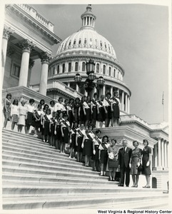 Congressman Arch A. Moore, Jr. on the steps of the Capitol with the Wellsburg Girl Scouts Troop 379.