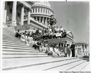 The Lumberport, W.Va. High School senior class on the steps of the Capitol building.