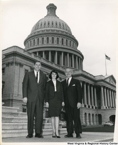 Congressman Arch A. Moore, Jr. standing on the Capitol steps with Mr. and Mrs. J. P Blair of Clarksburg, W.Va.