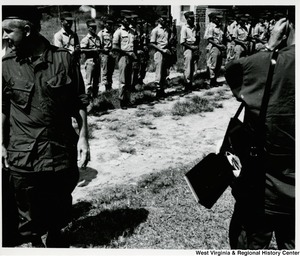 Congressman Arch A. Moore, Jr. and the home guard at the Cau Ca resettlement in Vietnam