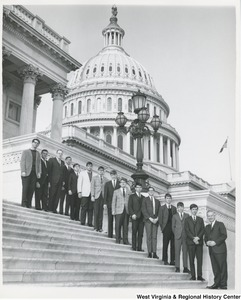 Congressman Arch A. Moore, Jr. standing on the steps of the Capitol with the Bridgeport Boy's Patrol for 1966.